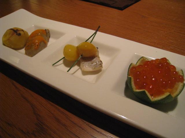 前菜3種 「牡蠣のうに焼き」「太刀魚の一夜干し」「いくらの酢橘釜」