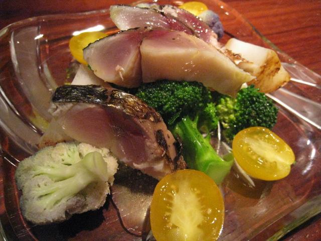 創庵 「子蕪、ブロッコリー、バイオレットカリフラワーと鯖の焼霜サラダ」