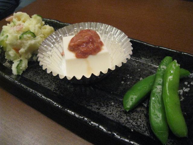 酒盗豆腐、スナップエンドウ~坊津の自然塩で、ポテトサラダ