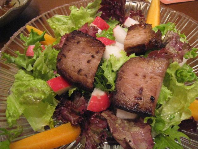 有機野菜のサラダ、ローストポーク