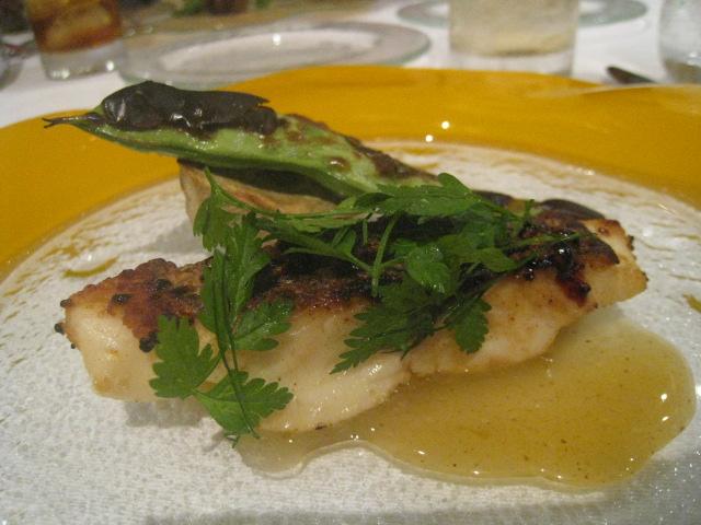 ソプラーノ 和歌山産天然鯛の黒糖キャラメリーゼ 和泉産レモンのスパイシーソース 夏ポルチーニ茸とモロッコインゲンのグリルを添えて