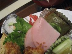 ハム。巻寿司、カボチャ、