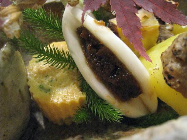 八寸 出汁巻卵 生蕪と肉味噌