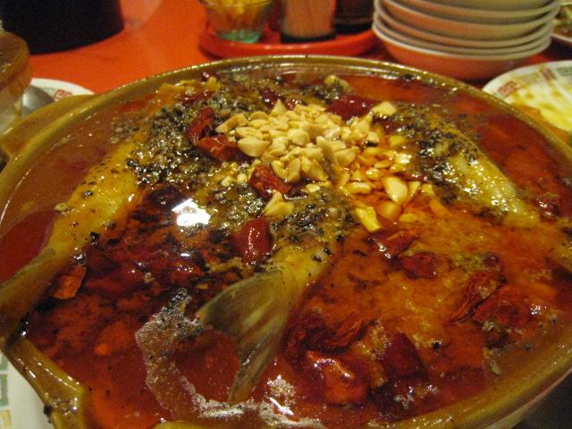 白身魚の四川風煮込み(玉子麺付き)