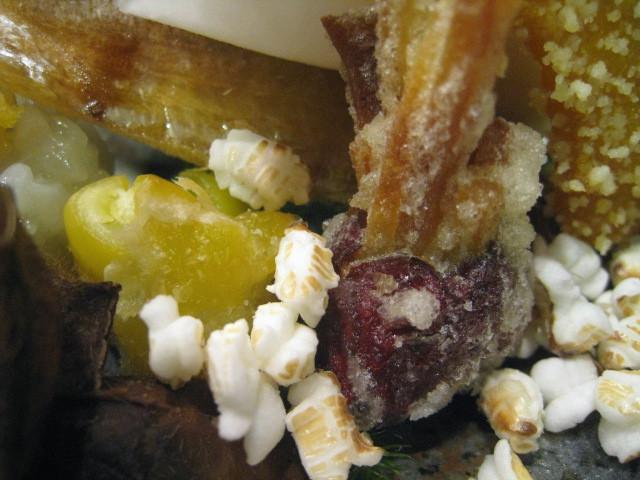 棗の薩摩芋挟み揚げ、銀杏の揚げ物