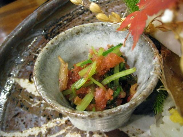 赤蕪とみぶ菜、原木しいたけの和え物
