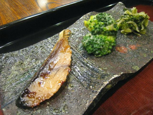 鯖のへしこ、ブロッコリー味噌和え、大根葉とじゃこ