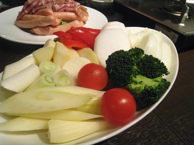 赤ワイン鍋用食材 野菜アップ