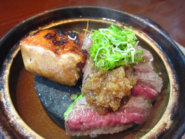金目鯛の照り焼きと牛肉のあぶり