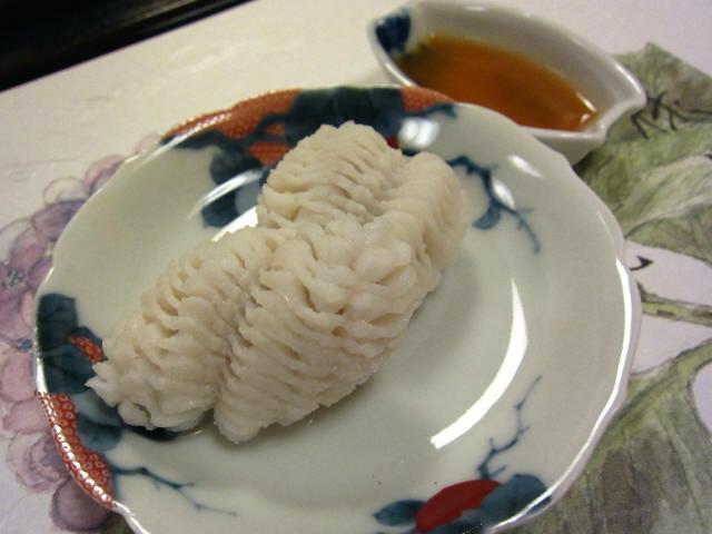 韓国産鱧の温落とし 梅肉出汁