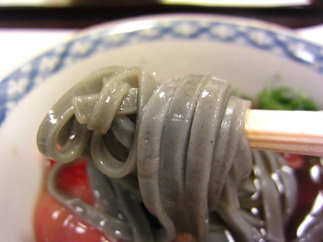 「炭射込み饂飩」「温泉玉子」「ゆうき農園産 霰トマト」「大葉紫蘇」 麺あげ