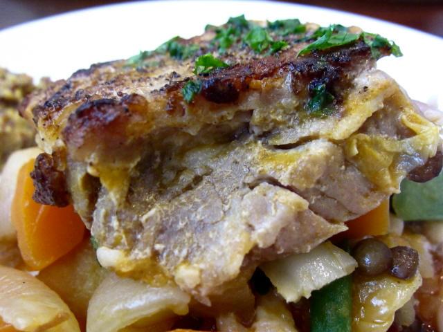"""豚バラ肉のガルビュール""""野菜と豆のスープ"""" 豚バラアップ"""