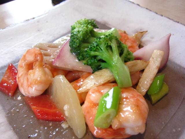芝海老と季節野菜の炒めもの