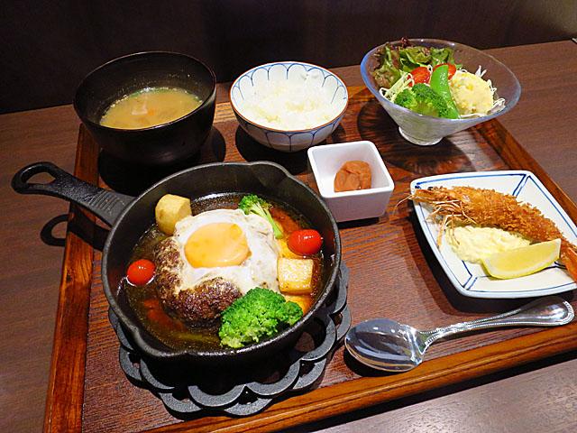 洋食Matsushita ハンバーグステーキランチ海老フライトッピング