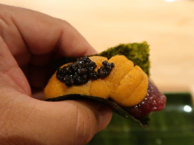 北新地さくら さくらとキャビア、生うにの手巻き寿司